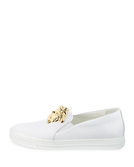Leather Slip-On Sneaker with Golden Medusa Head, White
