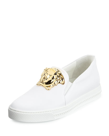 Versace Leather Slip-On Sneaker with Golden Medusa Head,