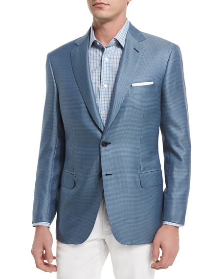 Brioni Tic Two-Button Silk-Blend Blazer, Pavone Check Dress
