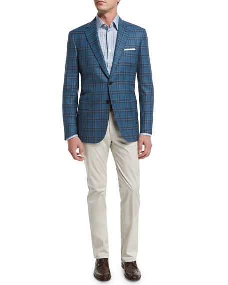 Plaid Two-Button Wool Sport Coat, Teal