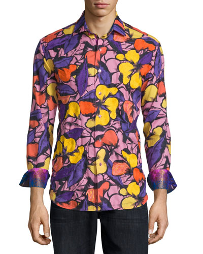 Limited Edition Floral-Print Sport Shirt, Purple