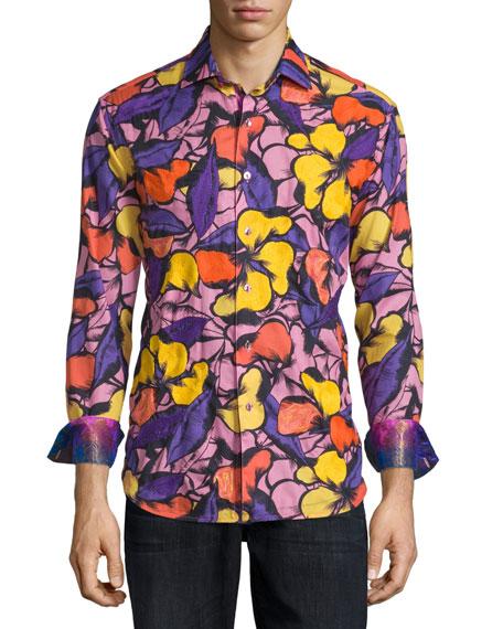 Robert Graham Limited Edition Floral-Print Sport Shirt, Purple