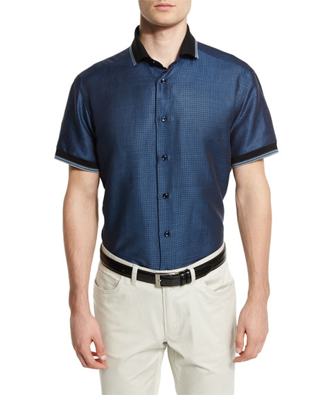 Brioni Geometric-Print Short-Sleeve Shirt with Contrast Trim,