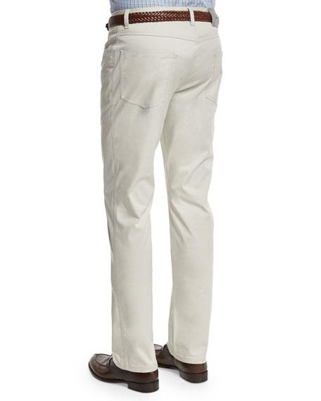Five-Pocket Stretch Pants, Light Gray
