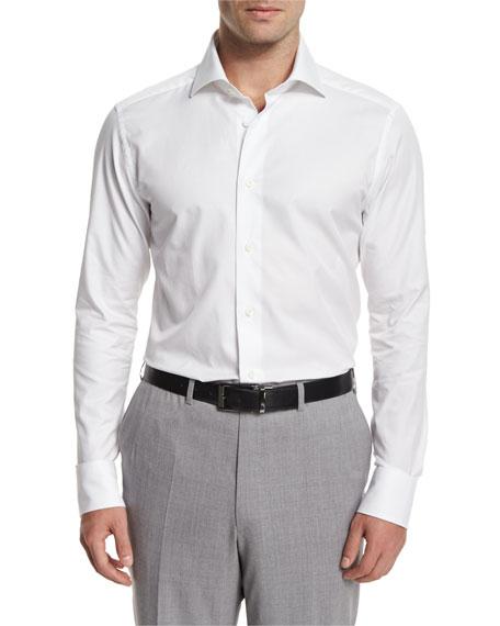 Ermenegildo Zegna Solid Long-Sleeve Sport Shirt, White