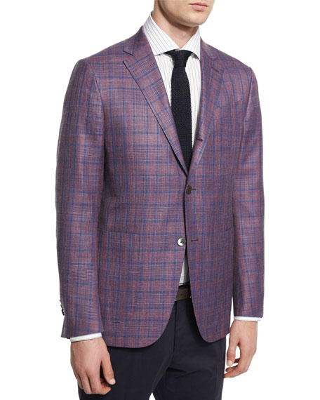 Milano Easy Plaid Three-Button Wool-Blend Jacket, Pink/Blue