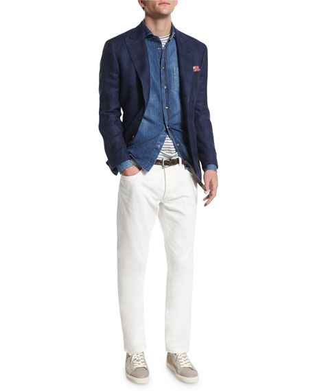 Tonal Madras Two-Button Jacket, Deep Blue