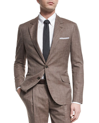 Wool-Blend Textured Two-Piece Suit, Brown