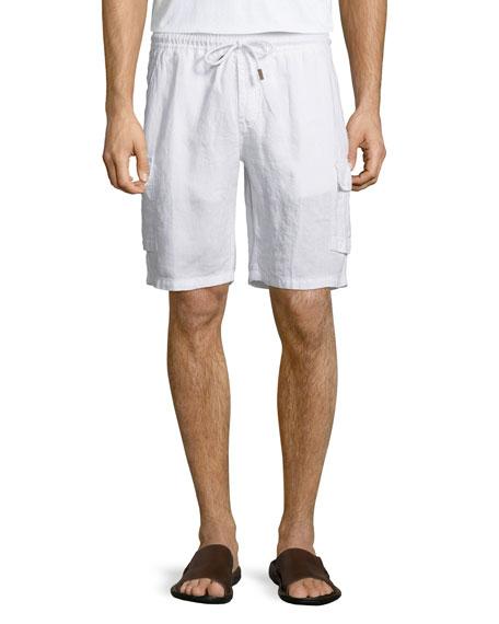 VilebrequinBaie Solid Linen Cargo Shorts, White