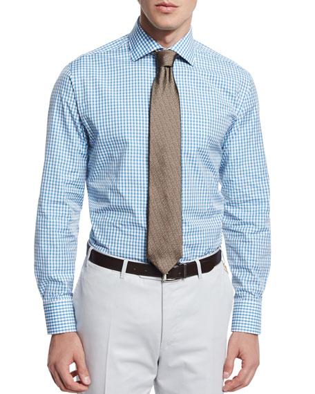 Canali Check Long-Sleeve Sport Shirt, Aqua