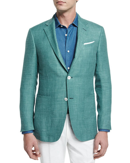 Solid Half-Lined Blazer, Green