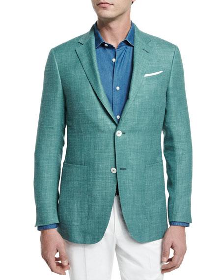 Ermenegildo Zegna Solid Half-Lined Blazer & Cashmere-Blend