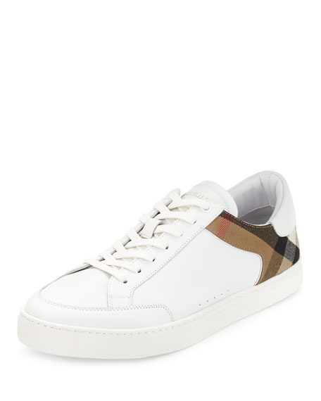 Burberry Black & White Striped Canvas Mid Sneakers