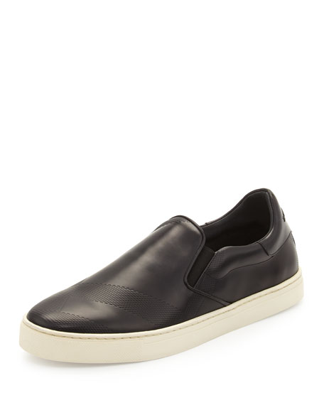 Burberry Copford Check-Embossed Leather Sneaker, Black