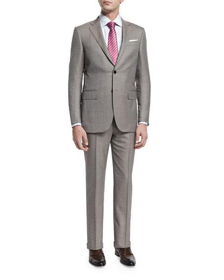 Ermenegildo Zegna Micro-Tic Two-Piece Trofeo® Wool Suit, Tan