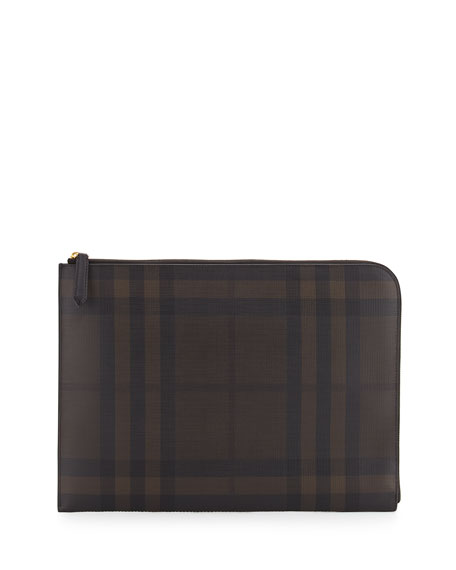 Burberry London Check Men's Document Case, Chocolate/Black