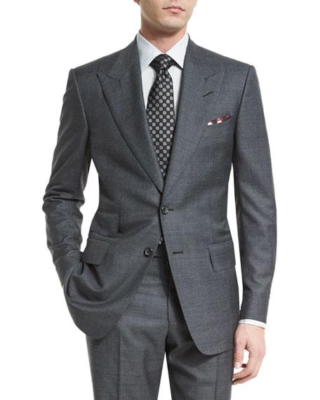 Windsor Base Peak-Lapel Irregular-Check Suit, Charcoal