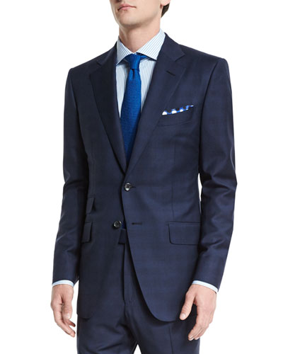 O'Connor Base Mini Prince-of-Wales Wool Two-Piece Suit, Navy