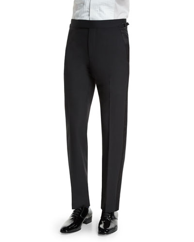 O'Connor Base Tuxedo Trousers with Satin Trim, Black