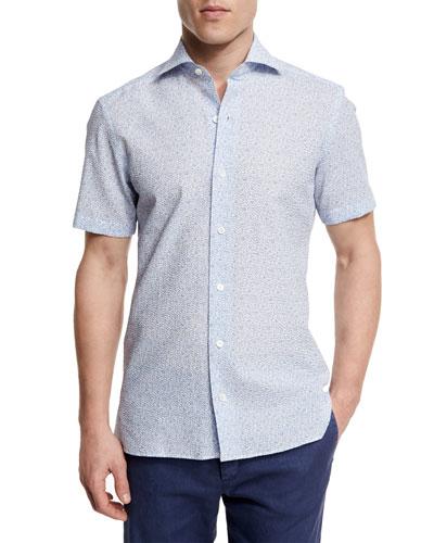 Floral-Print Short-Sleeve Shirt, Light Blue