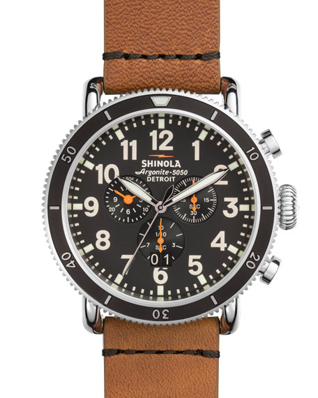 Shinola48mm Runwell Sport Chronograph Watch, Tan