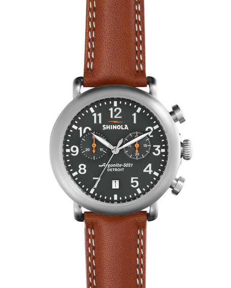 Shinola 41mm Runwell Chronograph Watch, Tan/Gray