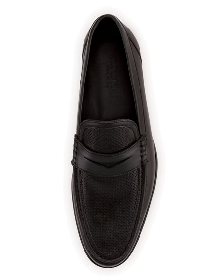 Perforated Leather Penny Loafer, Black