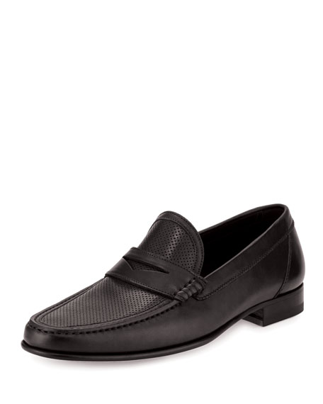 a.testoni Perforated Leather Penny Loafer, Black