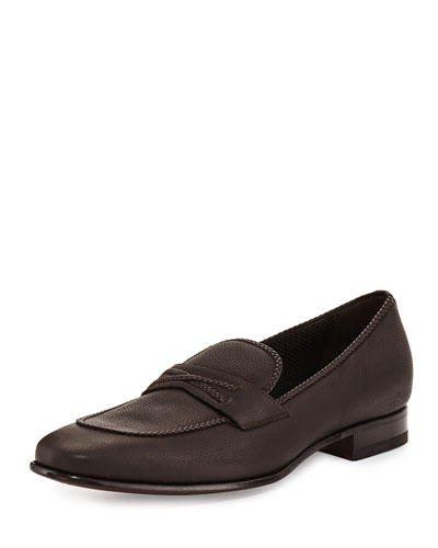 Braided-Trim Leather Loafer, Brown