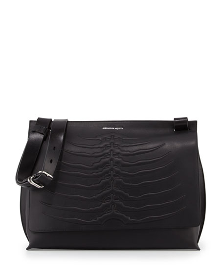 Alexander McQueen Men's Embossed Rib Cage Leather Messenger