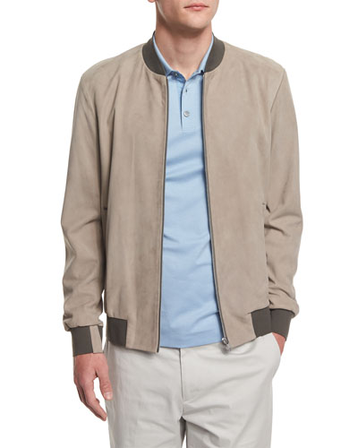 Brant Suede Bomber Jacket, Side Walk