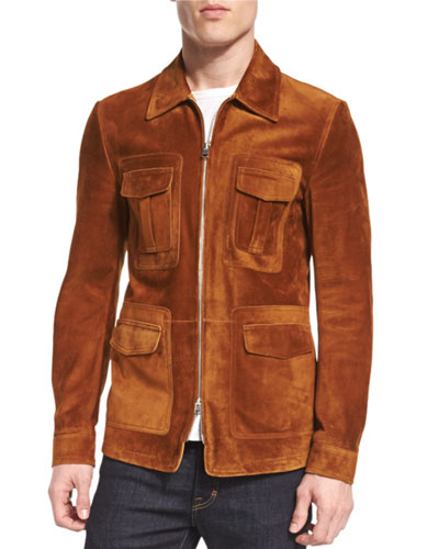 Cashmere-Suede Zip Jacket, Rust