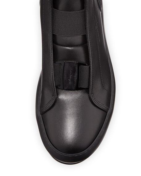Men's Ground Buckle-Front Calfskin High-Top Sneaker, Black