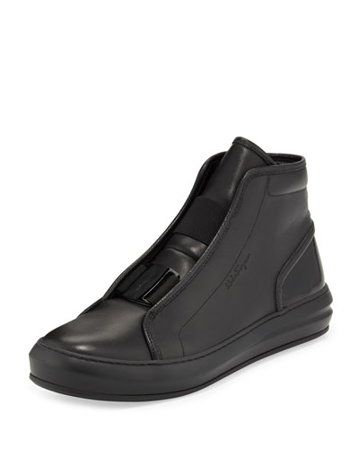 Gang Buckle-Front Leather High-Top Sneaker, Black