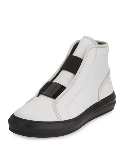 Ground Buckle-Front Calfskin High-Top Sneaker, White