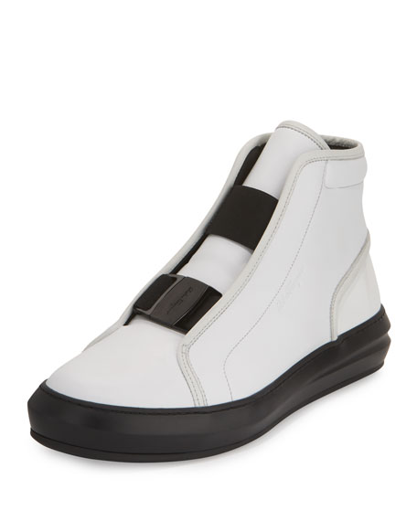 Salvatore Ferragamo Ground Buckle-Front Calfskin High-Top