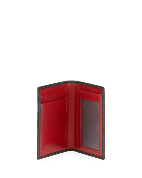 Men's Revival Leather Bi-Fold Card Case, Black/Red