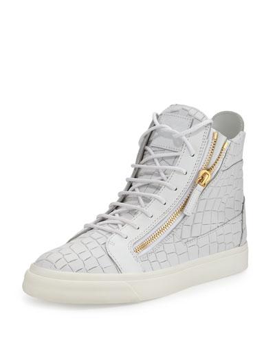 Men's Crocodile-Embossed Leather High-Top Sneaker, White