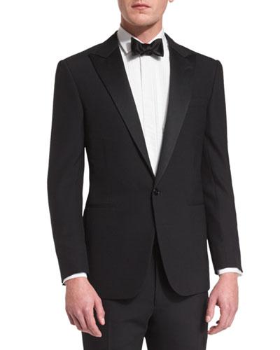 Anthony Peak-Lapel One-Button Wool Tuxedo, Black