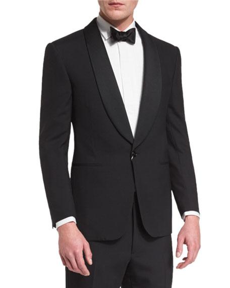 Anthony Shawl-Lapel Wool Tuxedo, Black