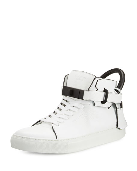 Buscemi100mm Men's Leather High-Top Sneaker, White