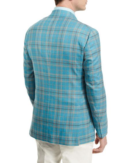 Plaid Two-Button Wool Jacket, Aqua