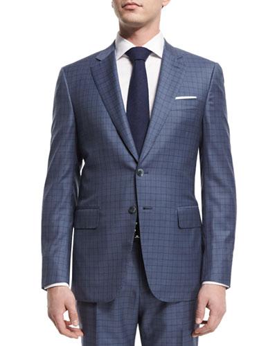 Super 160s Box Check Two-Piece Suit, Light Blue