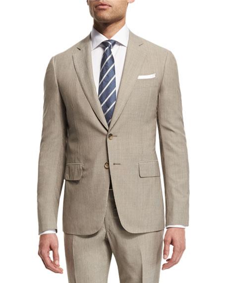 Narrow-Stripe Two-Piece Wool Suit, Khaki