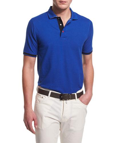 Short-Sleeve Snap-Placket Pique Polo Shirt, Blue