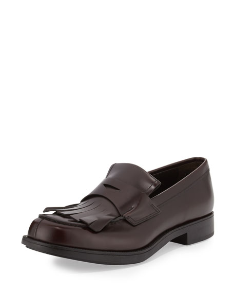 Prada Kiltie Leather Penny Loafer W/Fringe, Brown