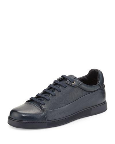 Leather Low-Top Sneaker, Navy