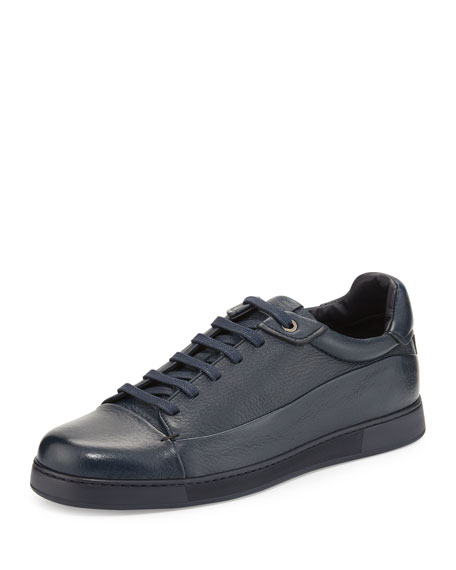 Ermenegildo Zegna Leather Low-Top Sneaker, Navy