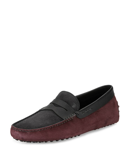 Tod's Gommini Colorblock Suede Penny Driver, Gray/Black/Bordeaux