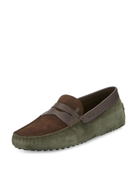 Tod's Gommini Colorblock Suede Penny Driver, Brown/Olive